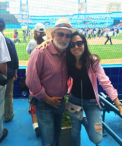 Marla and Feinberg at the Tampa Bay Rays and Cuban Nationals baseball game