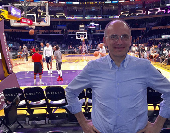 Former Prime Minister of Italy Enrico Letta at a Laker's game