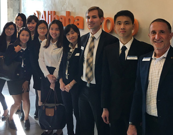 David Robertson and students at Alibaba