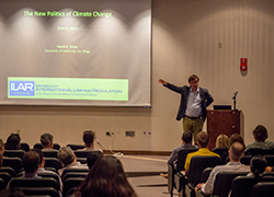 "Victor_alumni weekend.jpeg=Professor David Victor presents on ""The New Politics of Climate Change"" during GPS's 2015 Alumni Weekend."