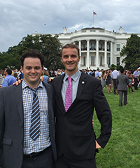 (From left) Fellow GPS alumnus Nathaniel Jones and DeZubiria attend an event on the White House south lawn