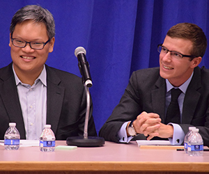 Victor Shih debates alongside GPS students against Barry Naughton